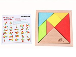 Elloapic 7 Piece Children Educational Toy Colorful Wooden Brain Training Geometry Tangram Puzzle