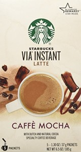Starbucks VIA Latte - Caffe Mocha (5 Single Serve Packets) net weight 6.53 oz (185g)