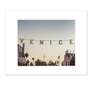 8x10 Matted Print - Venice Beach Sign Wall Art, Iconic Landmark in Los Angeles, 'Venice Sunset'