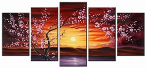 Wieco Art - 5 Panels Plum Tree Blossom Modern Giclee Canvas Prints Flowers Artwork Contemporary Abstract Floral Paintings on Canvas Wall Art for Hot sale Home Decorations Wall Decor