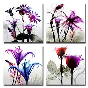 Spirit Up Art 4Pcs/Sets Huge Modern Giclee Prints Artwork Multi Flowers Pictures Photo Paintings Print on Canvas, Wall Art for Home Walls Decor, Stretched and Framed, Ready to Hang, 12*12inches