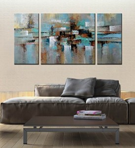 "ARTLAND Hand-painted ""Abstract Tone"" Oil Painting on Canvas Gallery-wrapped Wall Art Deco Home Decoration Modern Abstract Painting on Canvas 24x48inches"