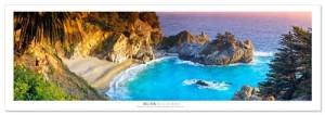 Award Winning Landscape Panoramic Art Print Poster: McWay Cove and Water Fall - Julia Pfeiffer State Park -Big Sur - California