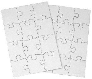 "Inovart Puzzle-It Blank Puzzles 12 Piece 5-1/2"" x 8"" - 24 Pieces Per Package"