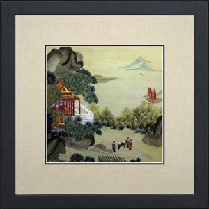 King Silk Art 100% Handmade Embroidery Beautiful Quiet Rural Village Mountain Farmers Climbing Scenery Chinese Print Multiple Framed Landscape Architecture Painting Oriental Gift Asian Wall Tapestry Hanging Art Decoration Artwork Picture Gifts 37005WFB1