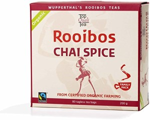 Chai Spice Rooibos Organic FAIR TRADE South African Red Bush Tea Bags, 80 count, Imported Natural Caffeine Free, Sweet Tasting, Antioxidant & Mineral Rich, Healthy Herbal Tea. USDA Certified 100% Organic, Fairtrade, Wupperthal Rooibos (NOT plantation grown).