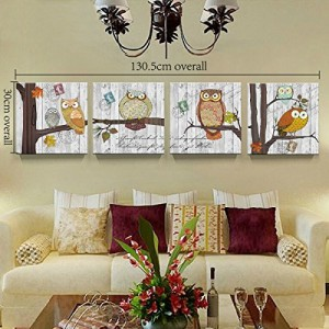 Framed Ready to Hang Child Bedroom Wall Painting On Canvas Owls Tree Decor