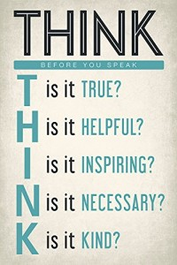 Think Before You Speak, motivational classroom poster