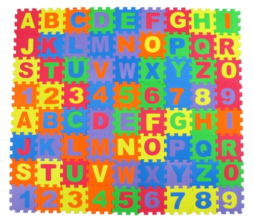 "Alphabet Letters & Numbers Educational Foam Puzzle Floor Mat for Kids + 72 Interlocking Pieces, 6""x6"" Squares Blocks, Covers 18 sq ft"
