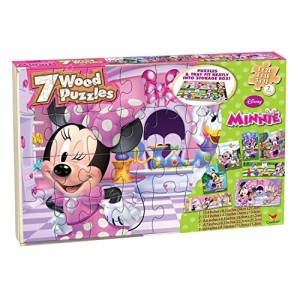 Disney Minnie Bowtique 7 Wood Puzzles in Wood Storage Box