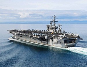 USS Nimitz (CVN 68) departs for a tiger cruise to home port (8.5 x 11)