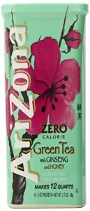AriZona Sugar Free Green Tea with Ginseng & Honey Iced Tea Mix, 1.7-Ounce, 2 QT Stix in Canister (Pack of 4)