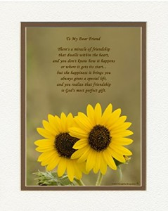 "Friend Gift with ""Miracle of Friendship"" Poem, Sunflowers Photo, 8x10 Double Matted. Great Friendship Gift or Best Friend Gift for Birthday or Christmas."