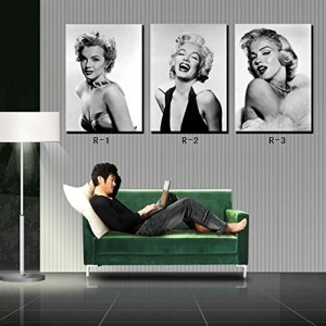 Spirit Up Art Marilyn Monroe Black & White Photos Home Decoration Print on Canvas Modern Wall Painting Art set of 3 Each 40*60cm #OMRW-01