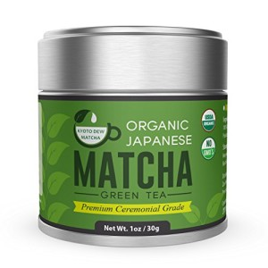 Matcha Green Tea Powder [Certified USDA Organic] Premium Ceremonial Grade - Japanese 30g Tin [1oz] by Kyoto Dew Matcha