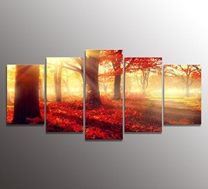 youkuart kx9920Canvas Wall Art Daydream Red Morning in the Forest, Nature Painting USA Design for Home Decor, Modern Framed Set of 5