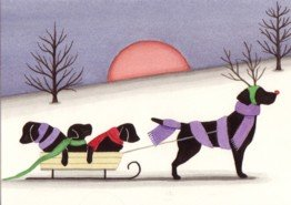 Christmas cards: Sled ride with black labrador (lab) family / Lynch folk art