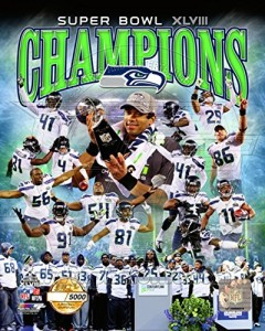 Seattle Seahawks Super Bowl XLVIII Champions PF Gold Photo 8 x 10in