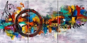 Santin Art-Circle Of Magic Modern Canvas Art Wall Decor Abstract Oil Painting Contemporary Art Abstract Paintings Framed Canvas Wall Art for Home Decor 3 panels Wall Decorations For Living Room Bedroom Office Ready to Hang