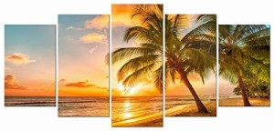 Wieco Art - Cozy Sea Modern Seascape 5 Panels Giclee Canvas Prints Artwork Sea Beach Pictures Paintings on Canvas Wall Art for Living Room Wall Décor
