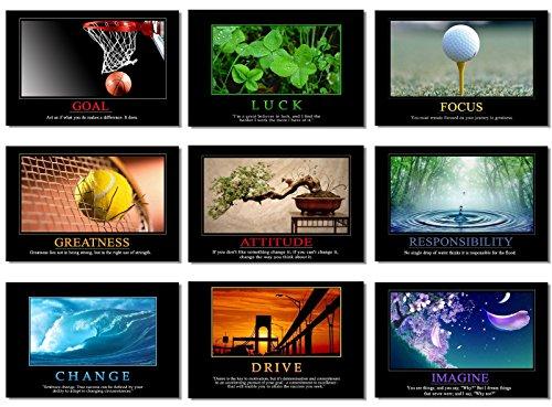 "9x Poster Motivational Self Positive Office Quotes Inspirational Success Teamwork Dream Focus Responsibility Prints 20x13"" (50x33cm) E397(01-09)"